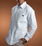 Guayabera with Embroidered Black Eagle