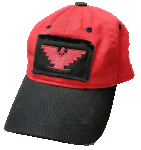Red Distressed Cap with Eagle Patch