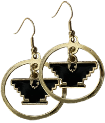 Gold Hoop Earrings with Eagle
